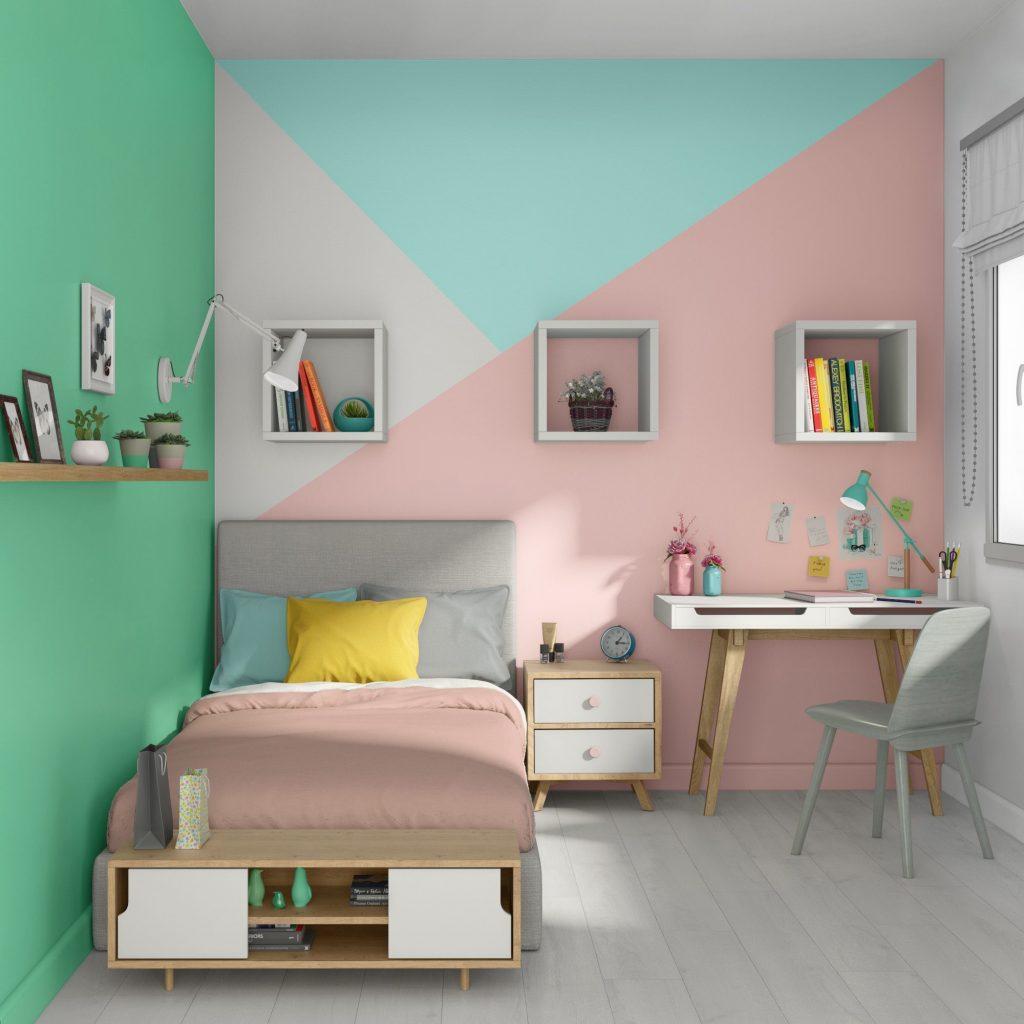 Exemple de décoration originale à la peinture dans une chambre d'enfant