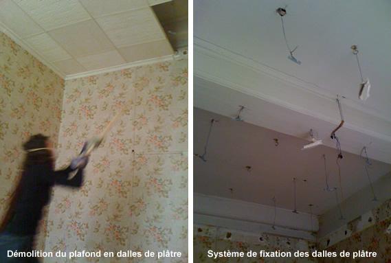 demolition plafond - demolir un plafond - plafond platre, canisse ...